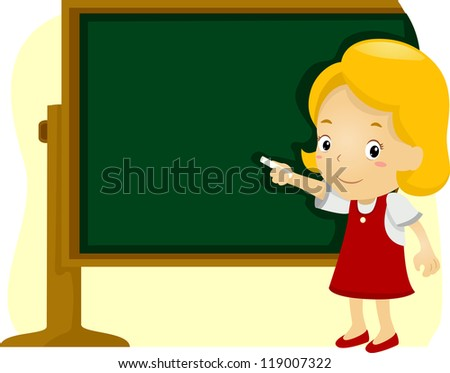 Illustration of a Girl Writing on a Blackboard - stock vector