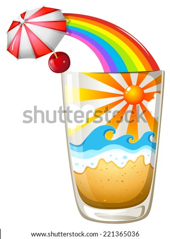 Illustration of a glass with a summer template on a white background
