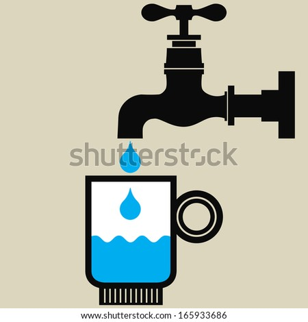 Illustration of a glass with drinking water and a tap with water drops