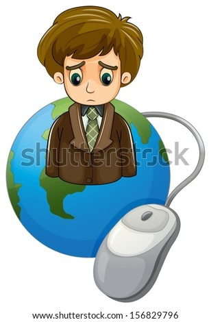 Illustration of a globe with a frowning businessman and a mouse on a white background - stock vector