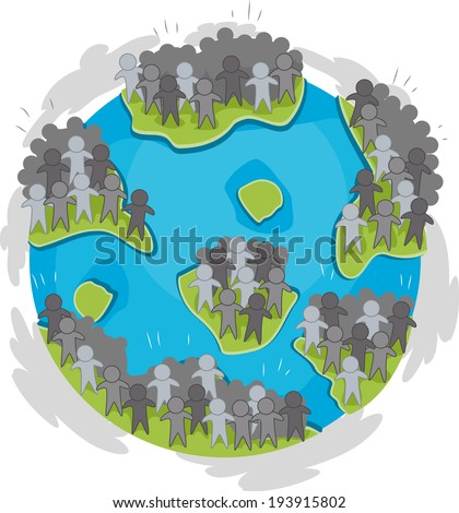Illustration of a Globe with Large Groups of Humans Scattered Around - stock vector