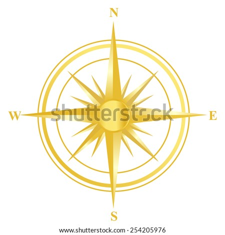 Illustration of a gold compass with all directions north east south and west isolated on white background. - stock vector