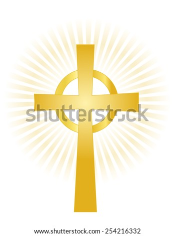 Illustration of a gold holy cross on glowing background isolated on white - stock vector