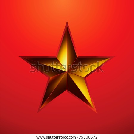 illustration of a Gold star on red background. EPS 8 vector file included - stock vector