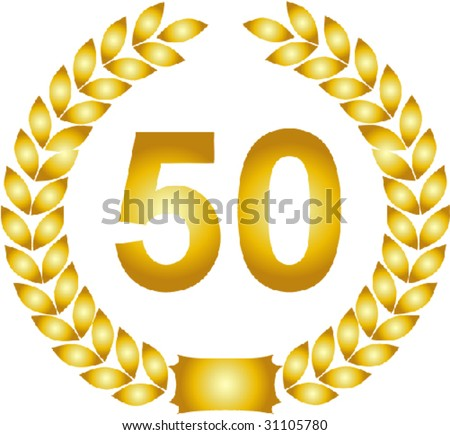 illustration of a golden laurel wreath - 50 years