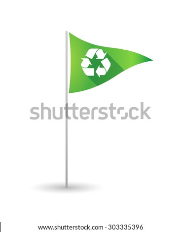 Illustration of a golf flag with a recycle sign - stock vector