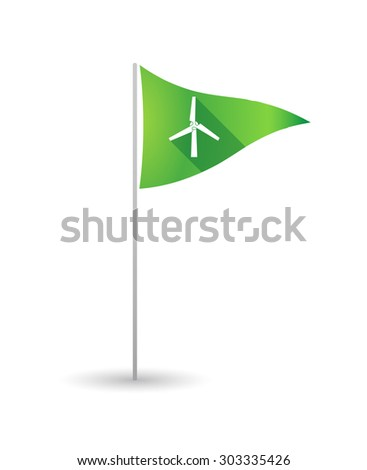 Illustration of a golf flag with a wind generator - stock vector