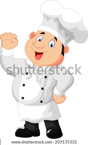 Illustration of a gourmet chef giving an okay sign - stock vector