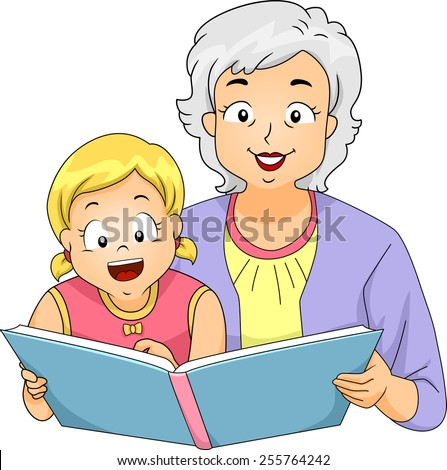 Illustration of a Grandmother Reading to Her Granddaughter - stock vector