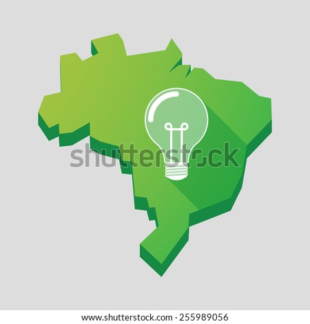 Illustration of a green  Brazil map with a light bulb - stock vector