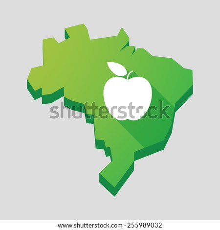 Illustration of a green  Brazil map with an apple - stock vector