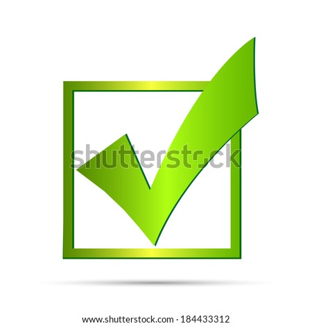 Illustration of a green check mark isolated on a white background. - stock vector