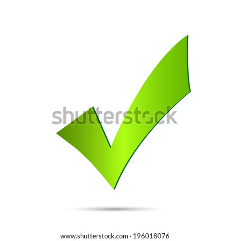 Illustration of a green checkmark isolated on a white background. - stock vector