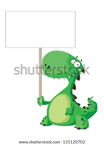 illustration of a green dinosaur with blank sign - stock vector