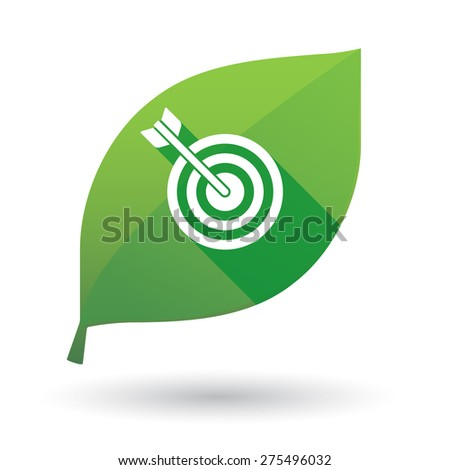 Illustration of a green leaf icon with a dart board - stock vector