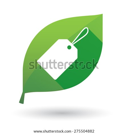 Illustration of a green leaf icon with a product label - stock vector