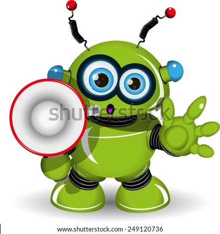 Illustration of a green robot with speaker - stock vector