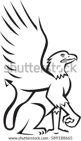 Illustration Griffin Griffon Gryphon Sitting Down Stock Vector ...