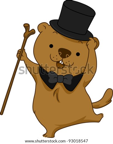 Illustration of a Groundhog Dancing Happily - stock vector