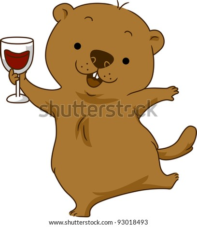 Illustration of a Groundhog Doing a Toast - stock vector