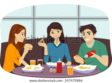 Illustration of a Group of Friends Eating Together in a Fast Food Restaurant - stock vector