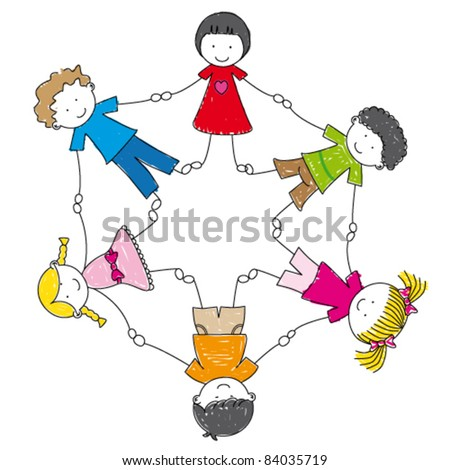 illustration of a group of friends holding hands - stock vector