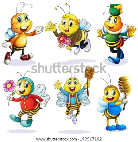 Illustration of a group of happy bees on a white background - stock vector