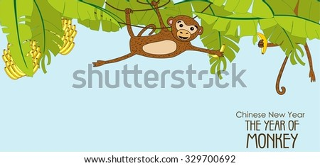 Illustration of a group of monkeys getting up to all sorts of mischievous tricks and fun. Playing in the thicket of bananas.
