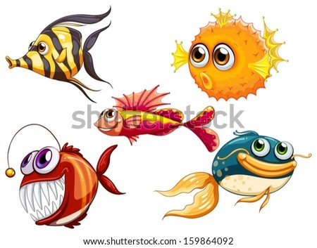 Illustration of a group of sea creatures on a white background - stock vector