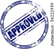 Illustration of a grunge rubber ink stamp: approved; dark blue stamp on white background - stock vector