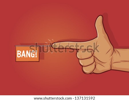"Illustration of a gun hand gesture with ""bang"" flag/Finger Gun - stock vector"