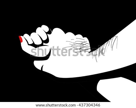 Illustration of a hairy man's hand holding a woman hand for rape and sexual abuse concept.