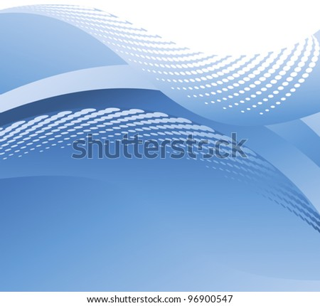 Illustration of a halftone blue water wave - stock vector