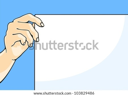 Illustration of a hand holding a paper sheet - stock vector