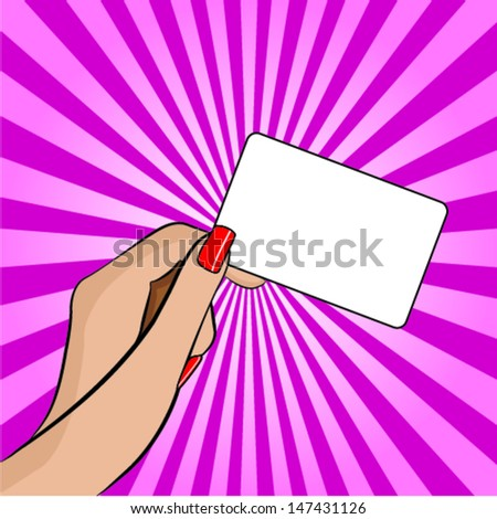 Illustration of a Hand Holding a Piece of Paper - Retro or Pop Art - stock vector