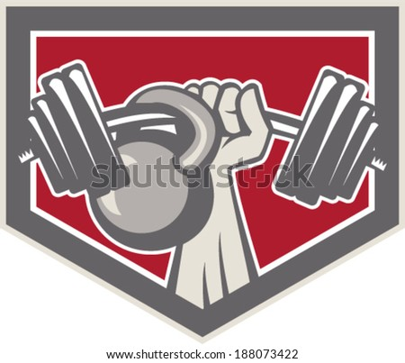Illustration of a hand lifting weights barbell kettlebell viewed from front set inside shield crest on isolated background done in retro style. - stock vector