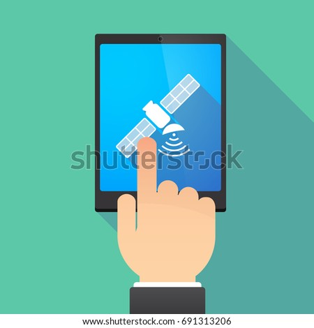 Illustration of a hand touching a tablet PC with a satellite