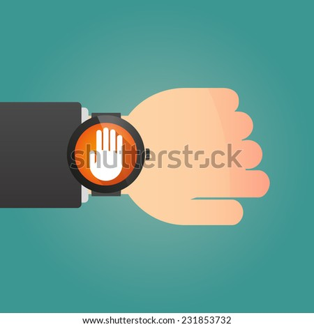 Illustration of a hand wearing a smart watch displaying a hand - stock vector