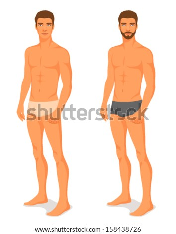 illustration of a handsome young man in underwear - stock vector