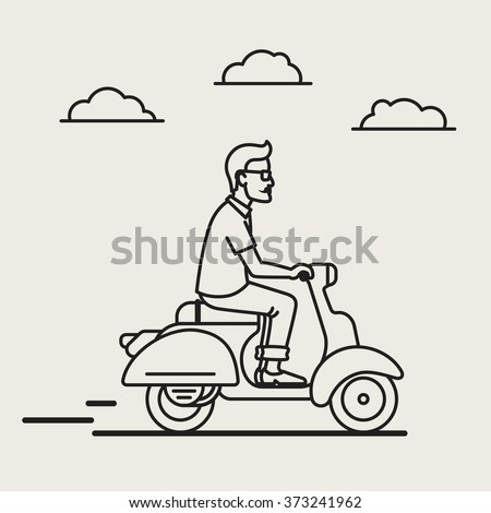 Illustration of a handsome young man who enjoying his days, ride vintage hipster vespa in the city. Street style,mans fashion. - stock vector