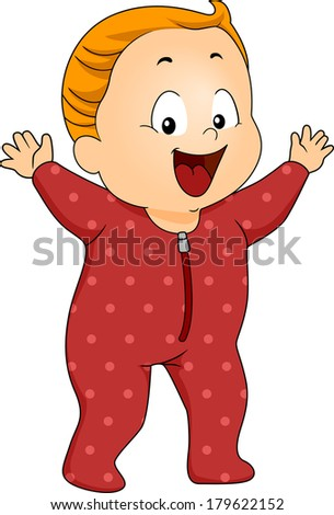 Illustration of a Happy Baby Boy Wearing Footie Pajamas - stock vector
