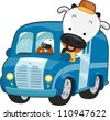 Illustration of a Happy Cow Driving a Milk Delivery Truck - stock photo