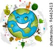 Illustration of a Happy Earth Mascot - stock vector