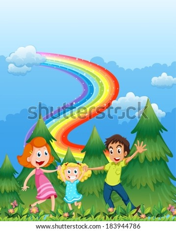 Illustration of a happy family near the pine trees with a rainbow in the sky