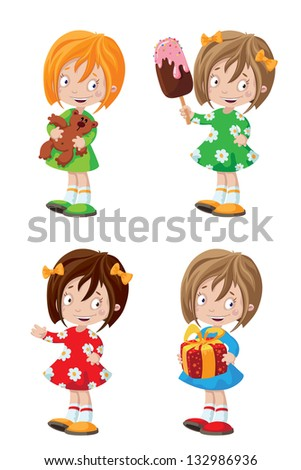 illustration of a happy girl set - stock vector