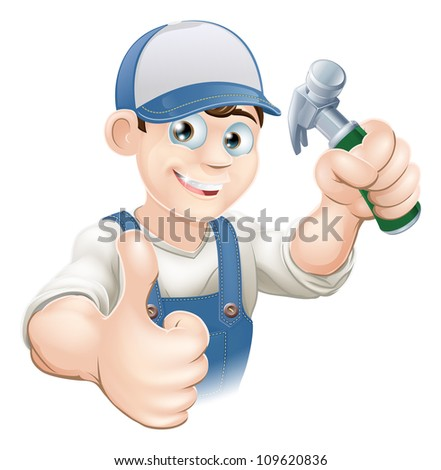 Illustration of a happy handyman, builder, construction worker or carpenter in work clothes holding a hammer and giving thumbs up - stock vector