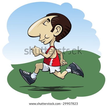 Illustration of a happy man running in the sunshine - Cartoon style - stock vector