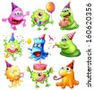 Illustration of a happy monsters celebrating a birthday on a white background - stock vector