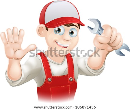 Illustration of a happy plumber or mechanic in his work clothes with wrench - stock vector