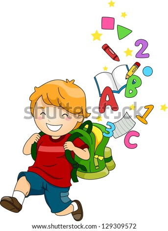 Illustration of a Happy School Boy with a Backpack full of ABC's and 123's - stock vector